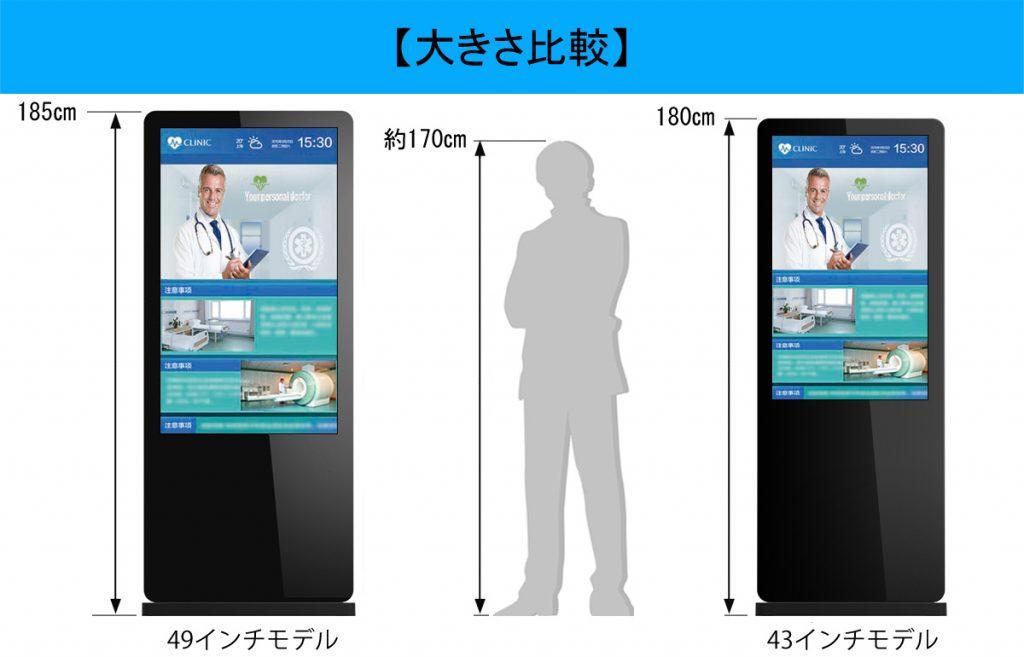 自立式のデジタルサイネージの大きさの比較