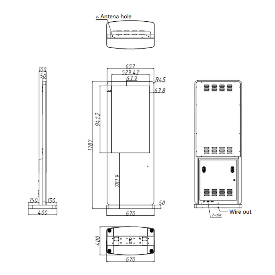 43インチのスタンド型デジタルサイネージ寸法図