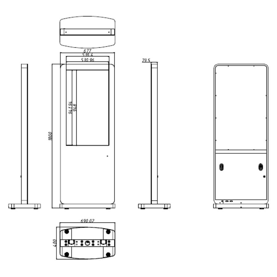 43インチのスタンド型タッチパネル搭載デジタルサイネージ寸法図