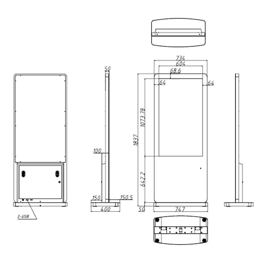 49インチのスタンド型デジタルサイネージ寸法図