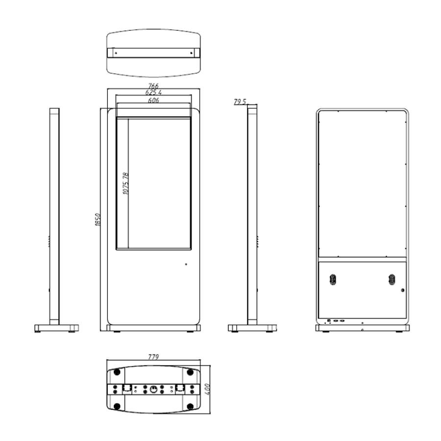 49インチのスタンド型タッチパネル搭載デジタルサイネージ寸法図