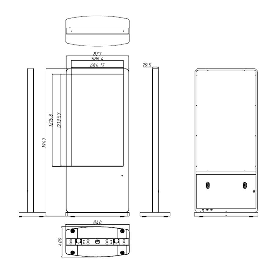 55インチのスタンド型タッチパネル搭載デジタルサイネージ寸法図