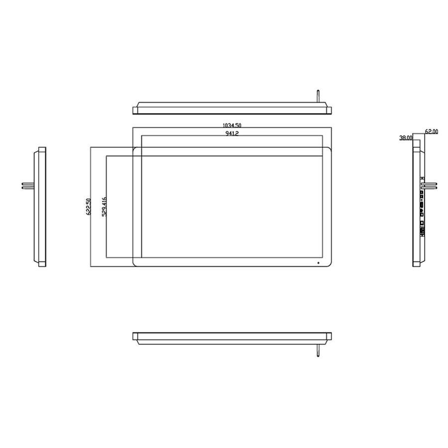 グッドビュージャパンのデジタルサイネージPF43H8寸法図