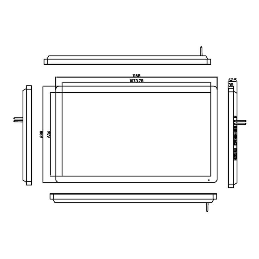 グッドビュージャパンのデジタルサイネージPF49H8寸法図