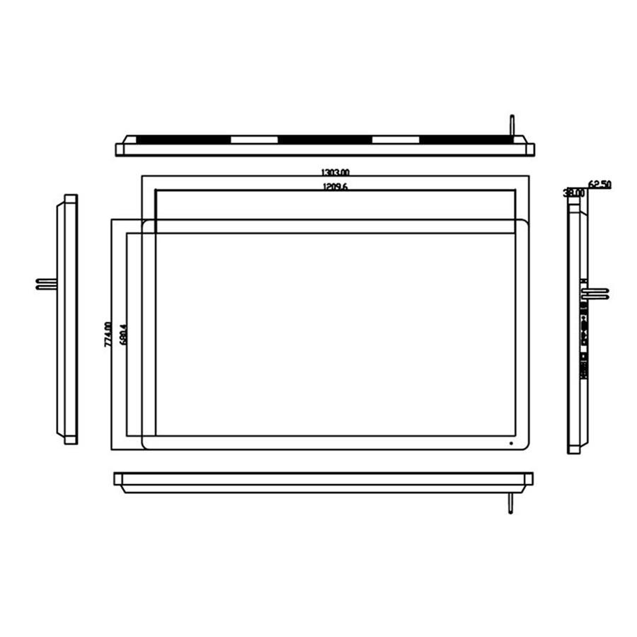 グッドビュージャパンのデジタルサイネージPF55H8寸法図
