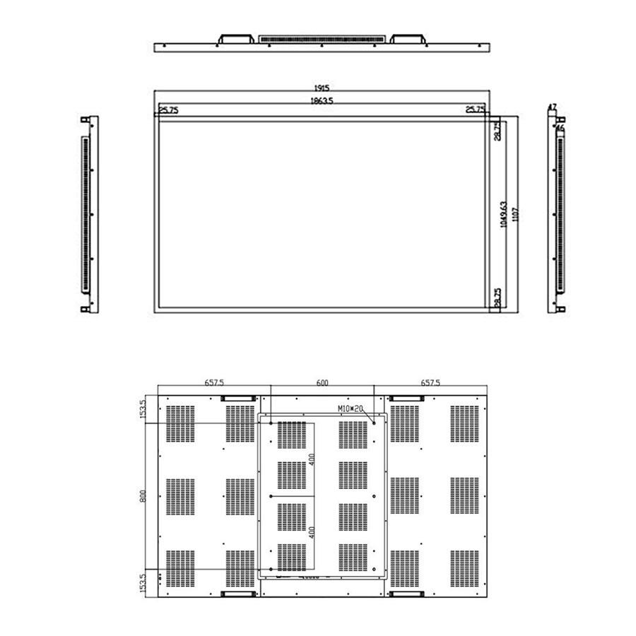 インタラクティブホワイトボード84インチ寸法図
